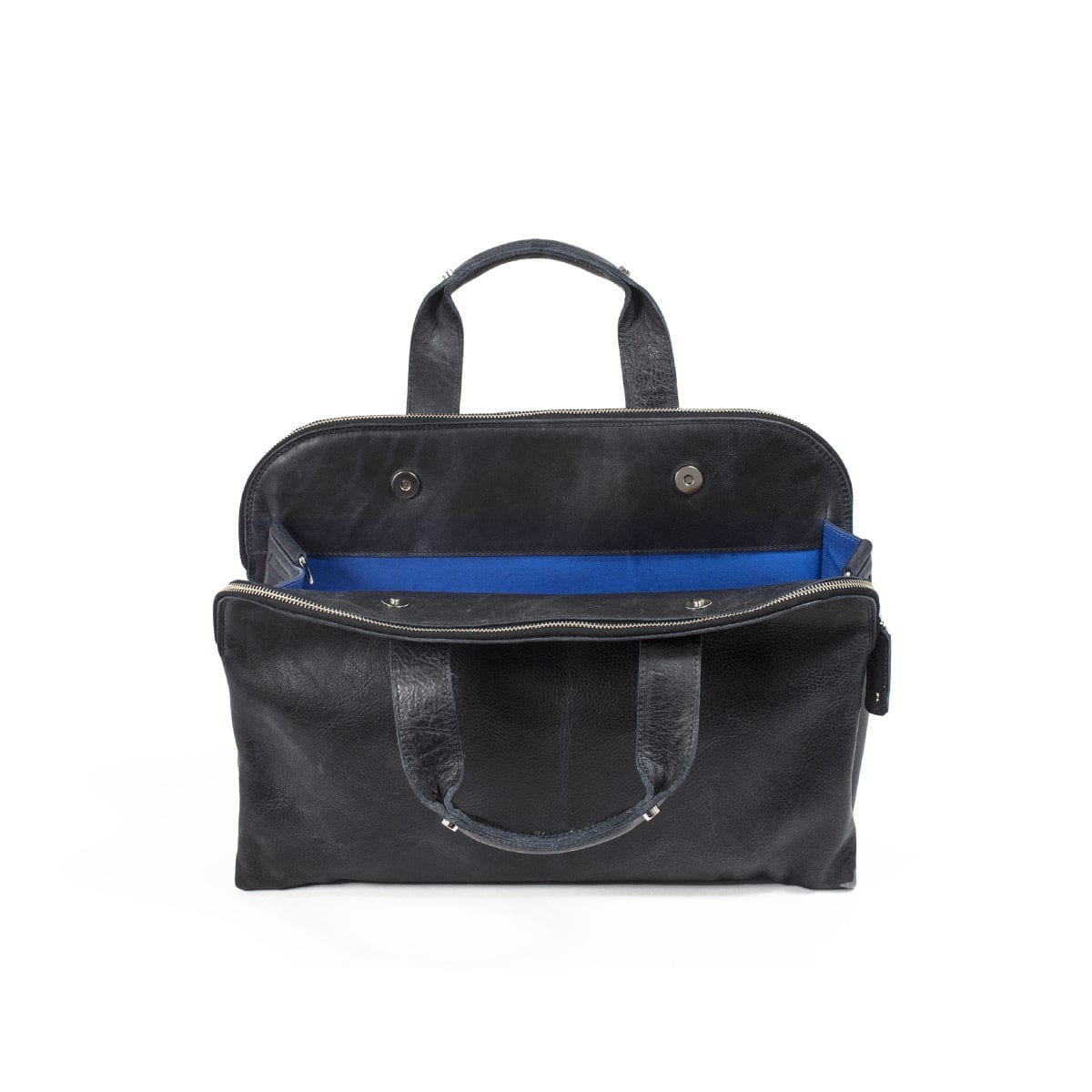 LUMI James Business Bag, in black, is created using vegetable tanned, pull-up waxed leather.
