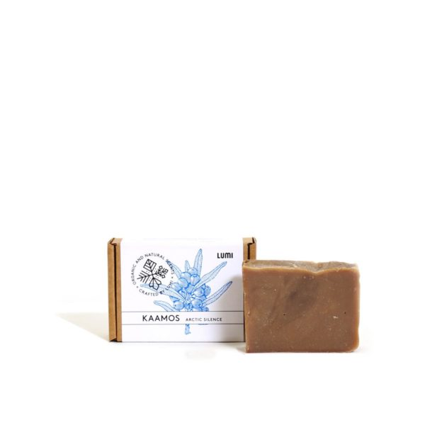 """LUMI Kaamos """"Arctic Silence"""" soap in a botanical scent, reminding you of the heat of the first winter sauna."""