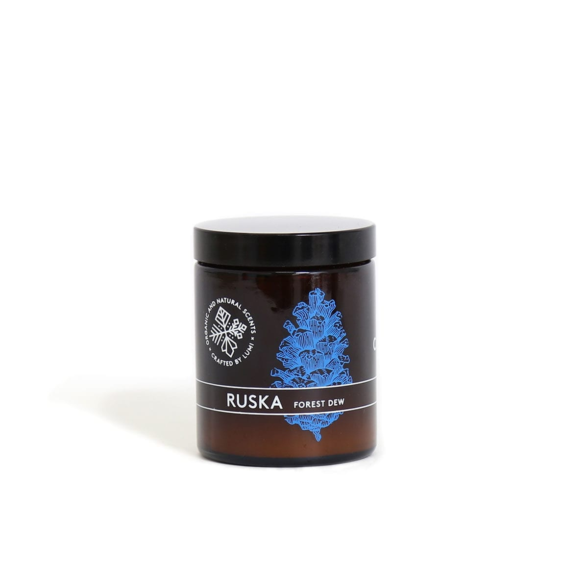 """Hand-poured LUMI vegetable wax candle in Ruska """"Forest Dew"""" natural botanical scent, reminding you of the foraging forest adventures."""