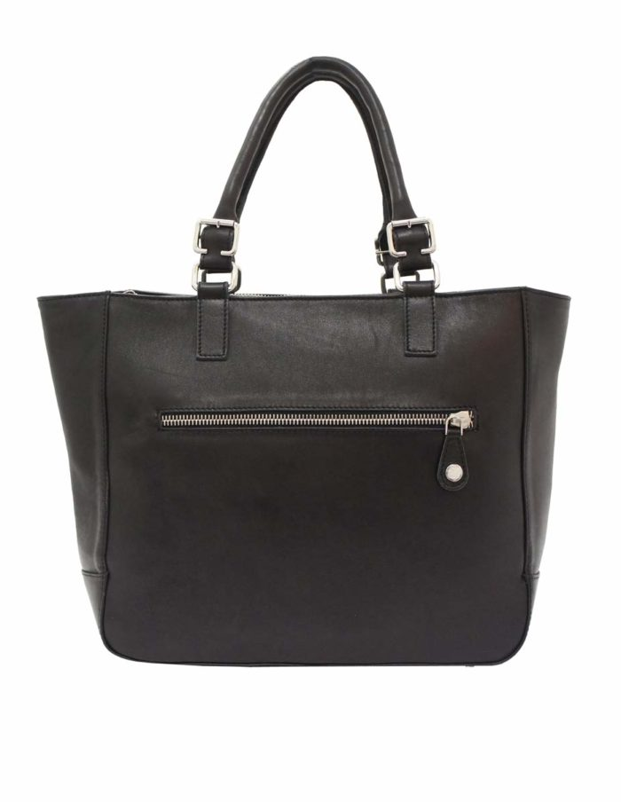 LUMI Jutta East West Tote, in black.