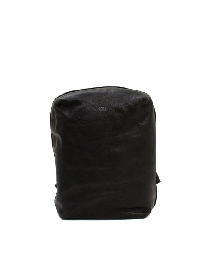 LUMI Markus Tablet Backpack, in black. Created using vegetable tanned, pull-up waxed leather.