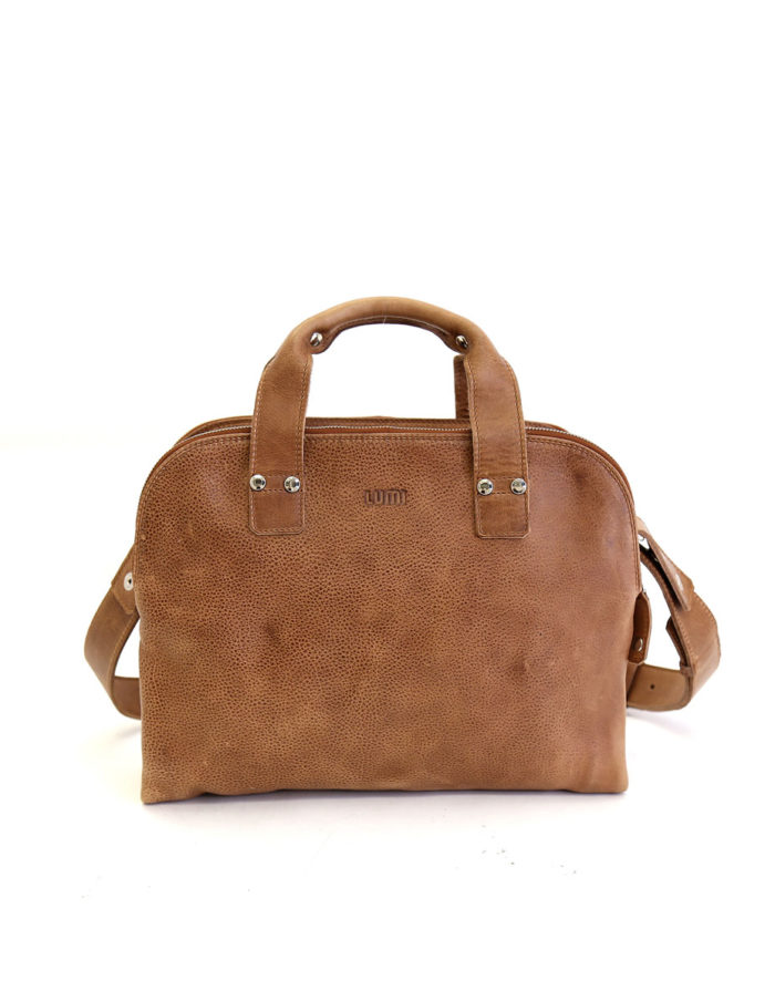 LUMI Johan Small Business Bag, in beige. Created using vegetable tanned leather
