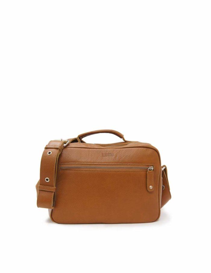 LUMI Jules Tablet Bag, in cognac