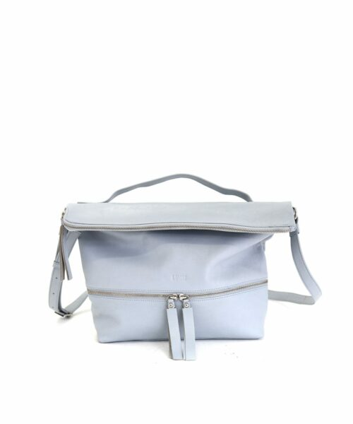 LUMI Lyydia Shoulder Bag, in sky blue, is made of vegetable tanned goat leather. Chemical free dyeing.