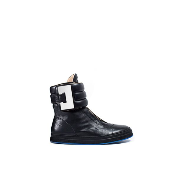 LUMI Nana Sneaker, in black, with silver hardware details.