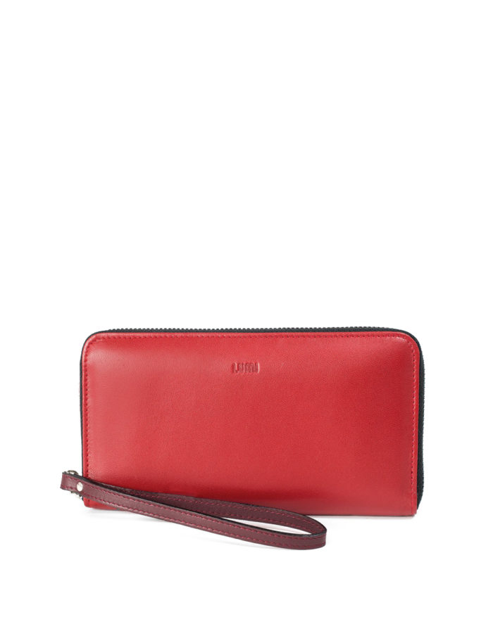 Orvokki Large Wallet in red and wine combo