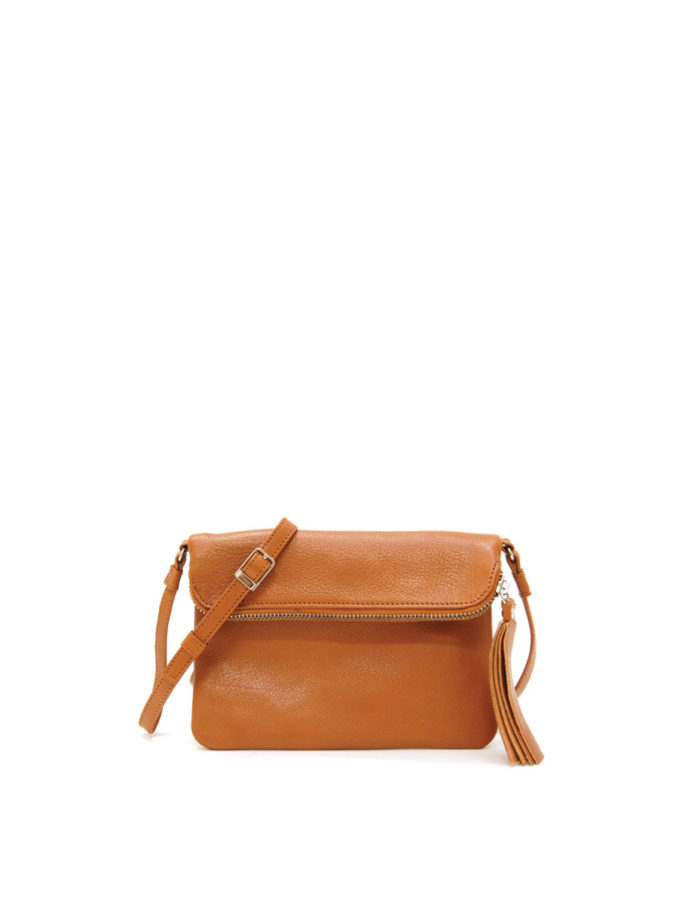 LUMI Stella Pouch Bag, cognac is made of vegetable tanned goat leather. Chemical free dyeing.