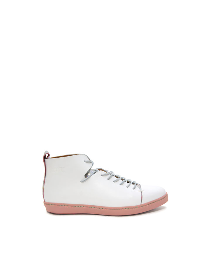 LUMI Tuulia Derby Shoe, in white, with fun eye-catching silver details.