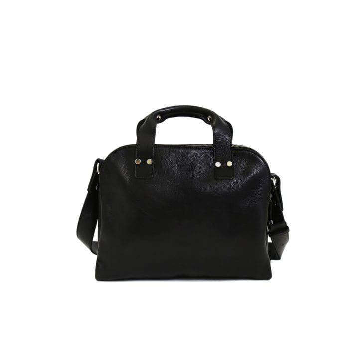 LUMI Johan Small Business Bag, in black. Created using vegetable tanned leather.