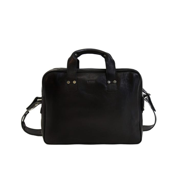 LUMI Jouko Computer Bag, in black. Created using vegetable tanned leather.