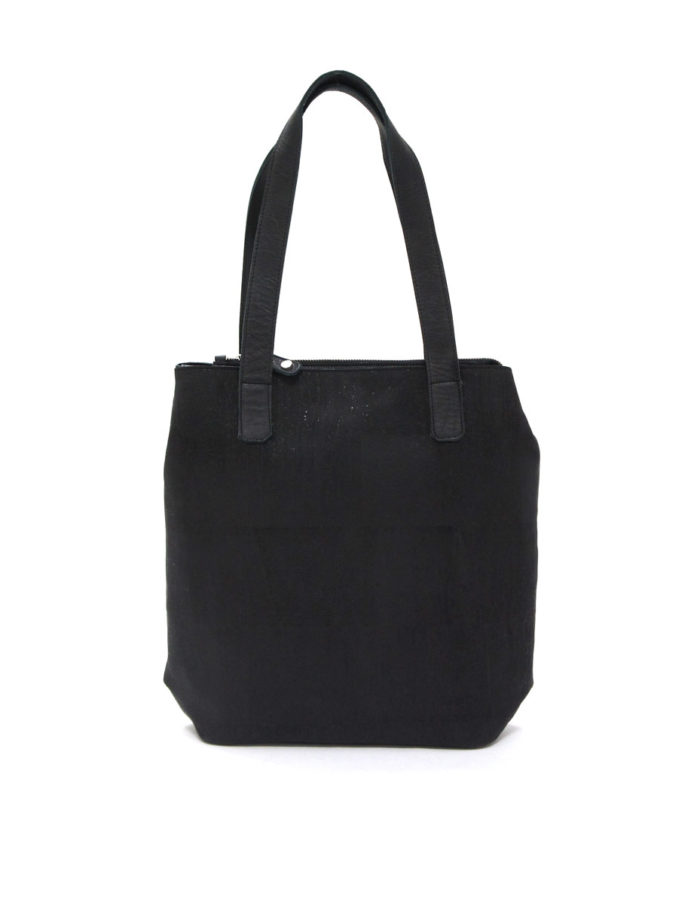 LUMI Lars Open Tote, in black cork, with cow leather in the details.