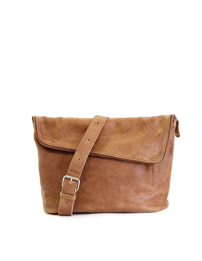 LUMI Theodore Messenger Bag, in beige, is created using vegetable tanned leather.