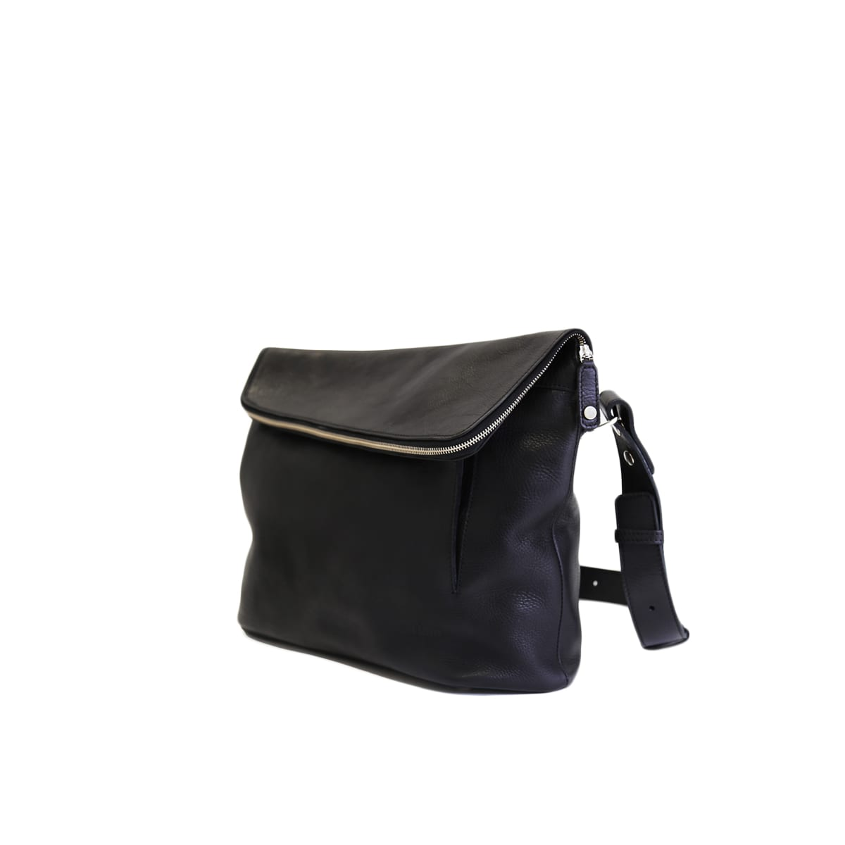 LUMI Theodore Messenger Bag, in black, is created using vegetable tanned leather.