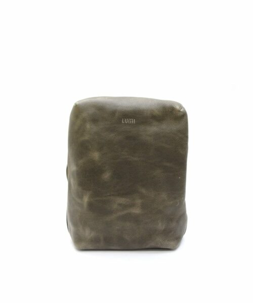 LUMI Markus Tablet Backpack, in taupe, is created using vegetable tanned, pull-up waxed leather.