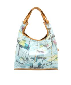 LUMI Supermarket Bag X-Large featuring an unique floral pattern printed on leather, created by Finnish artist and illustrator Jenni Ritamäki, in collaboration with LUMI.
