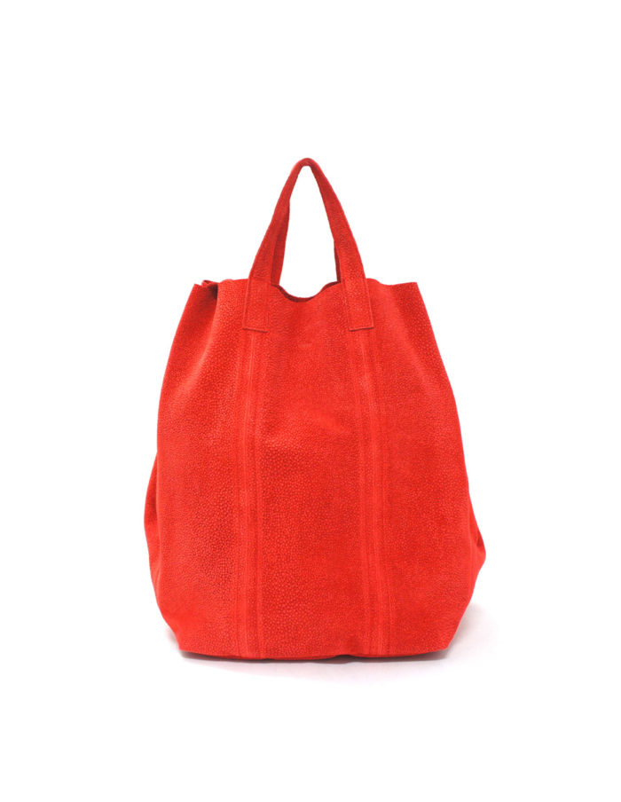 LUMI Linda Large Tote Bubbles, in red.