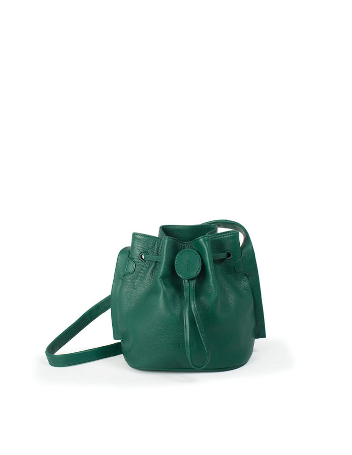 LUMI Beata Small Bucket Bag, in green, is made of vegetable tanned goat leather.