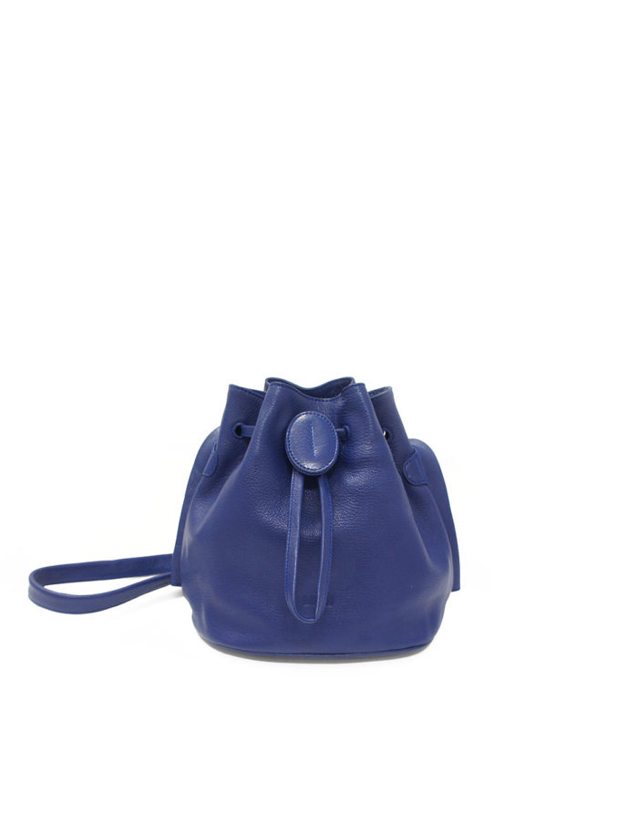 LUMI Beata Small Bucket Bag, in blue, is made of vegetable tanned goat leather.