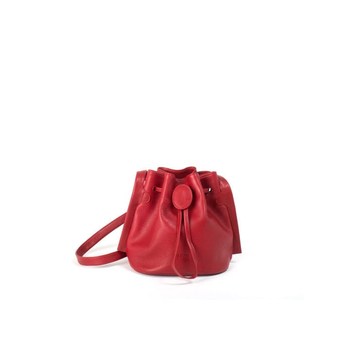 LUMI Beata Small Bucket Bag, in red, is made of vegetable tanned goat leather