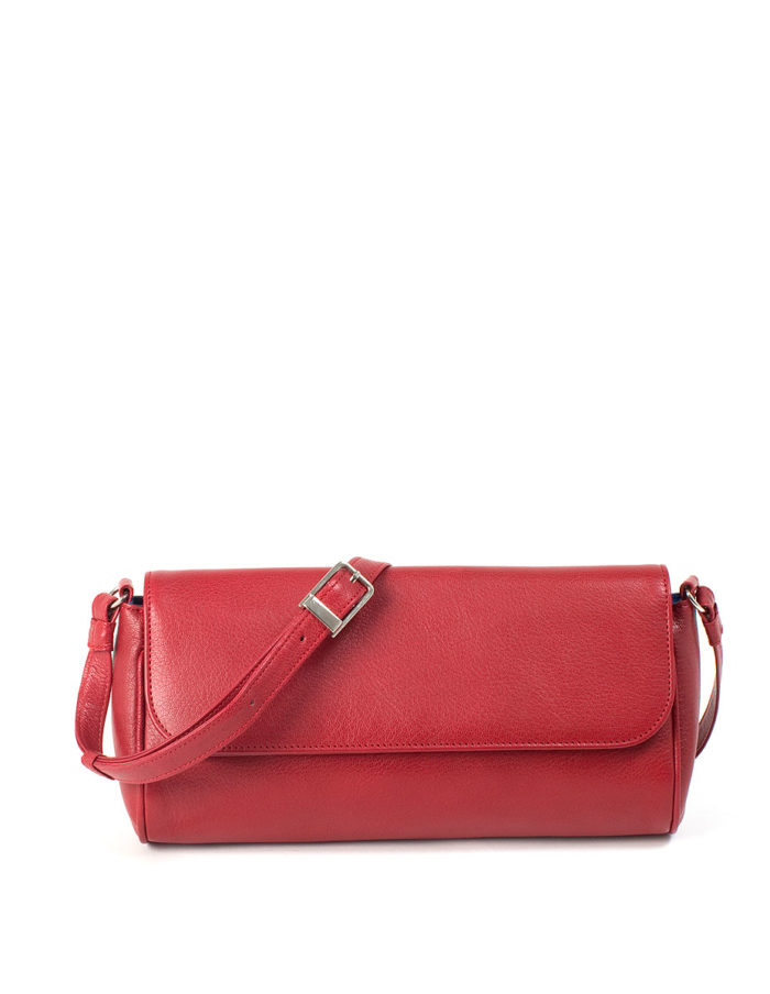 LUMI Eeva Pouch Bag, in red, is made of vegetable tanned goat leather.