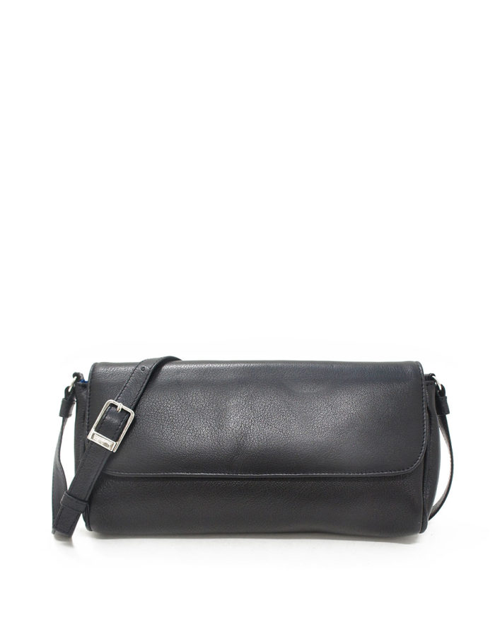 LUMI Eeva Pouch Bag, in black, is made of vegetable tanned goat leather.