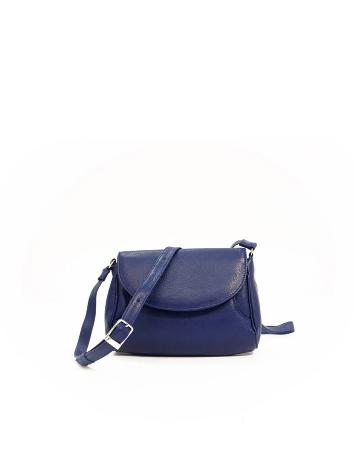 LUMI Jenna Pouch Bag, in blue, is made of vegetable tanned goat leather.