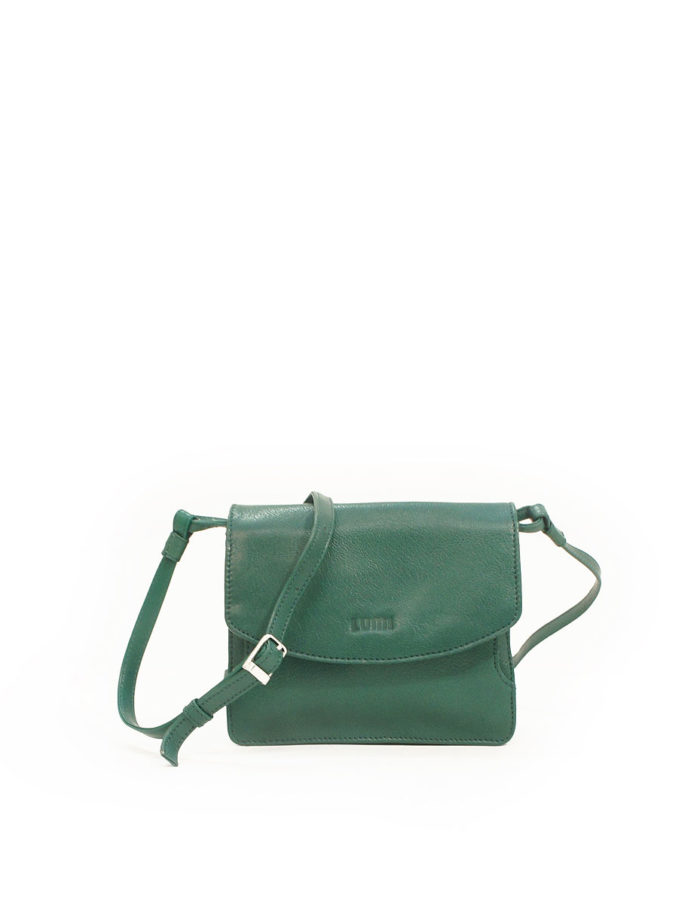 LUMI Kirsti Vintage Bag, in green, is made of vegetable tanned goat leather.