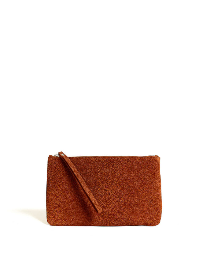 LUMI Raili Small Clutch Bubbles, in cognac, is from our Limited Edition.