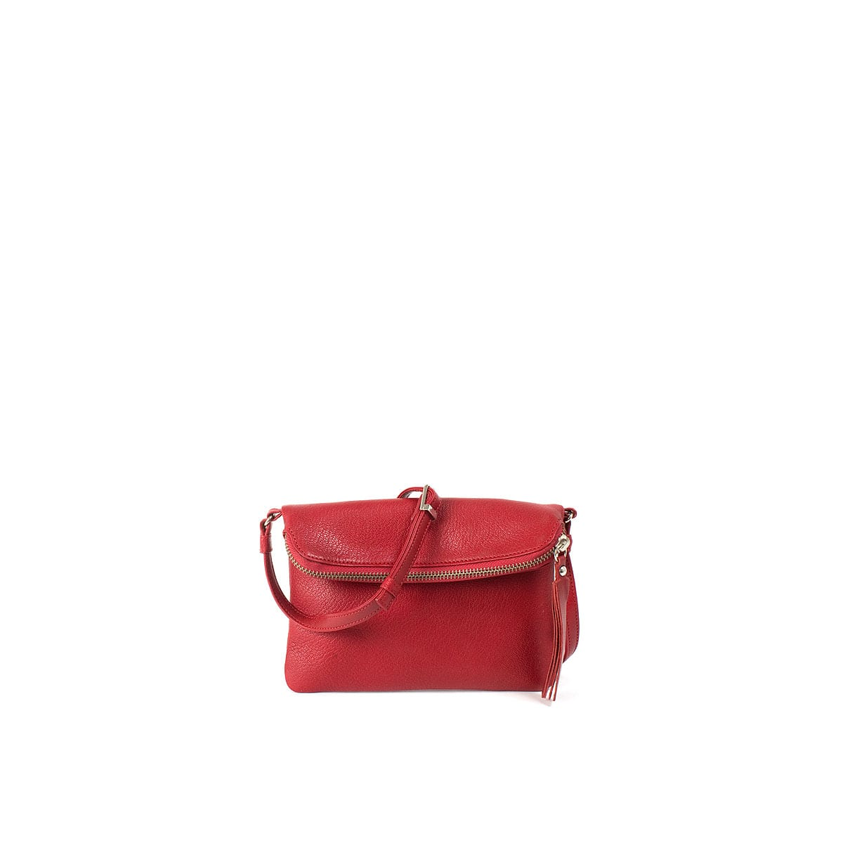 LUMI Stella Pouch Bag, in red, is made of vegetable tanned goat leather