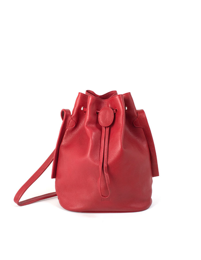 LUMI Verna Large Bucket Bag, in red, is made of vegetable tanned goat leather.