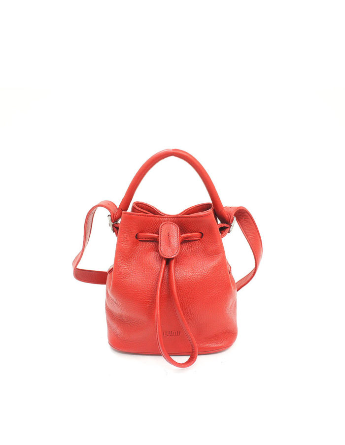 LUMI Klara Small Bucket Bag, in red.