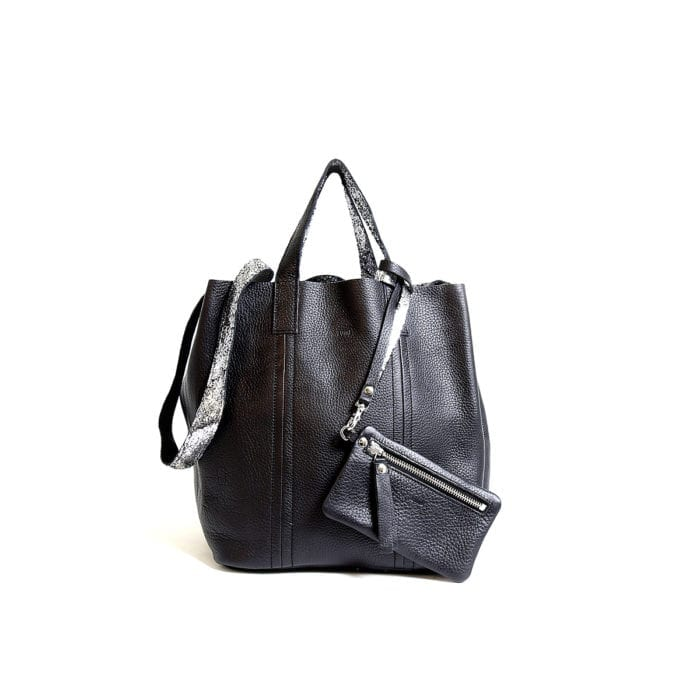 LUMI Frida Small Tote Floater, in black/silver