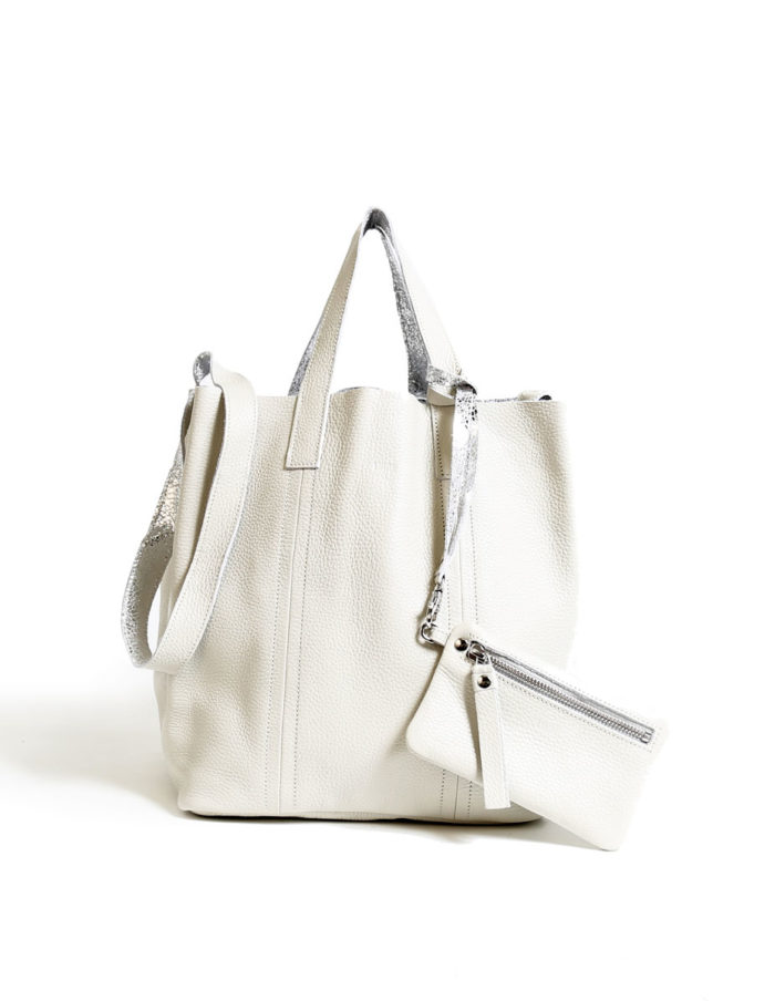 LUMI Frida Small Tote Floater, in white/silver
