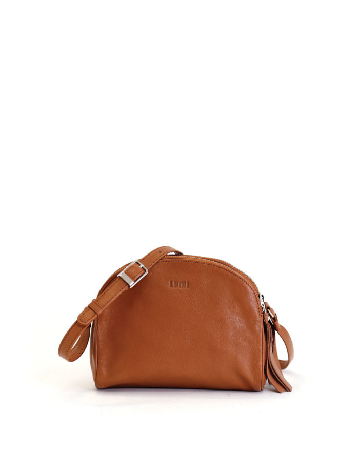 LUMI Jakita Mini Crossbody Bag, in cognac, is made of vegetable tanned goat leather.