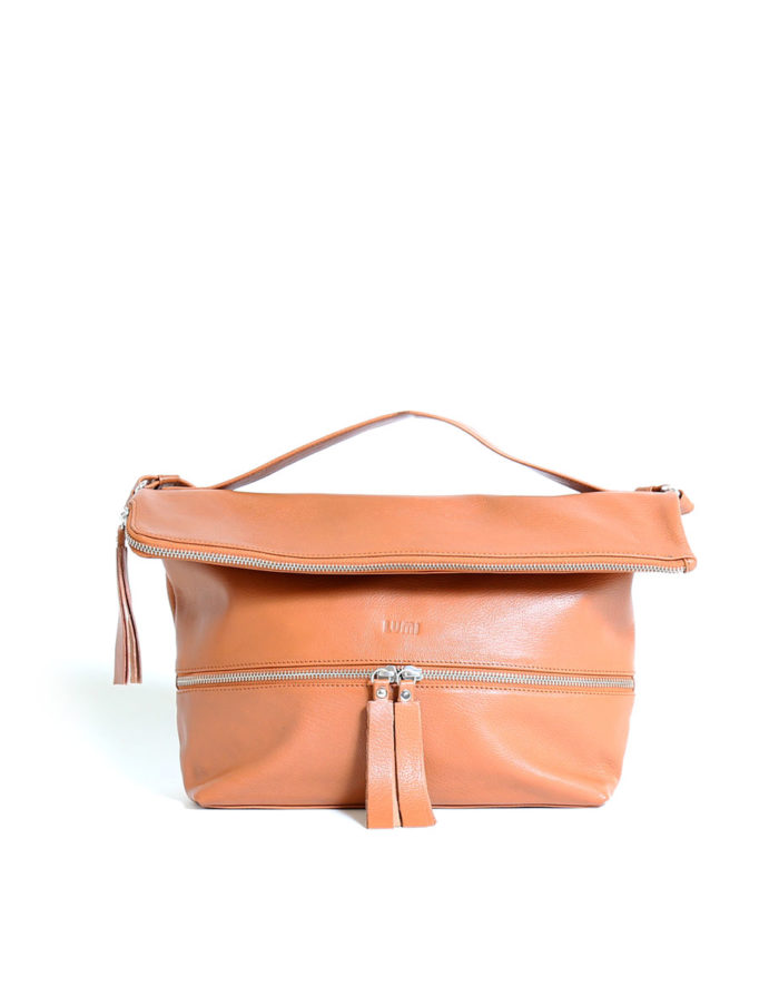 LUMI Lyydia Shoulder Bag, in cognac, is made of vegetable tanned goat leather. Chemical free dyeing.