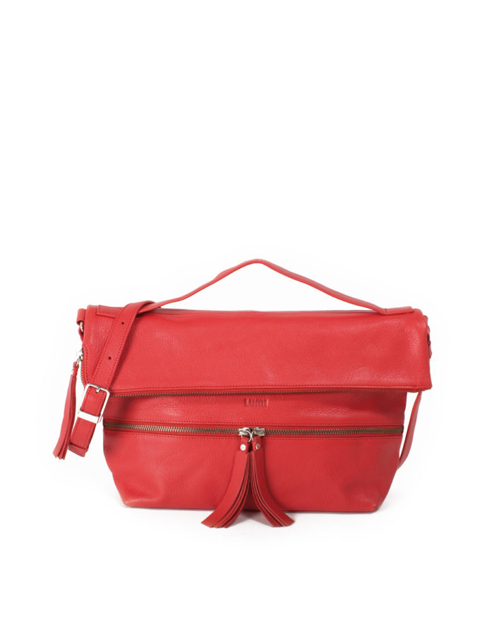 LUMI Lyydia Shoulder Bag, in coral, is made of vegetable tanned goat leather. Chemical free dyeing.