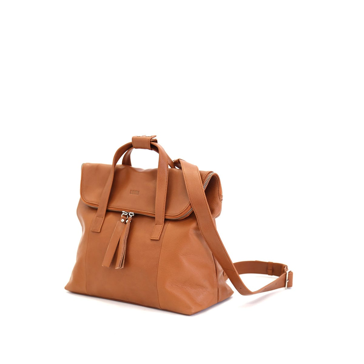 LUMI Saara Backpack, in cognac, is made of vegetable tanned goat leather. Chemical free dyeing.