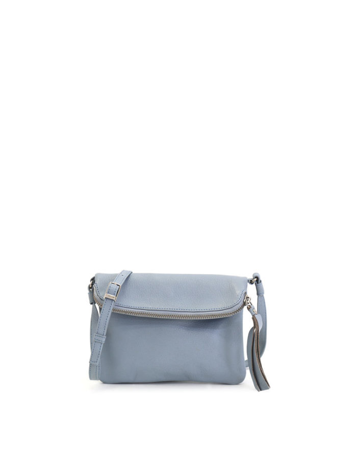LUMI Stella Pouch Bag, in sky blue, is made of vegetable tanned goat leather. Chemical free dyeing.