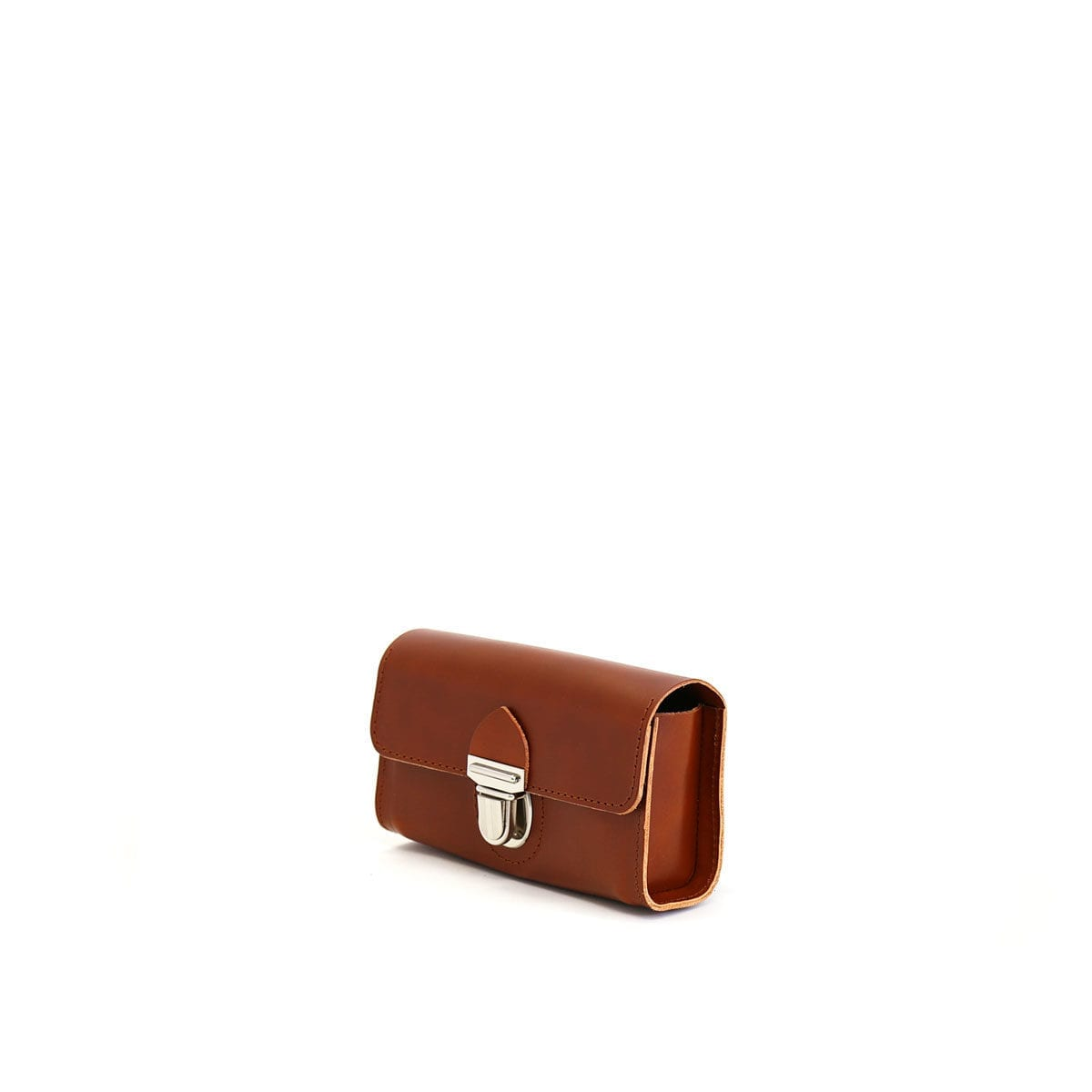 LUMI Kukka Evening Pouch, in cognac, is created using natural vegetable tanned cow leather