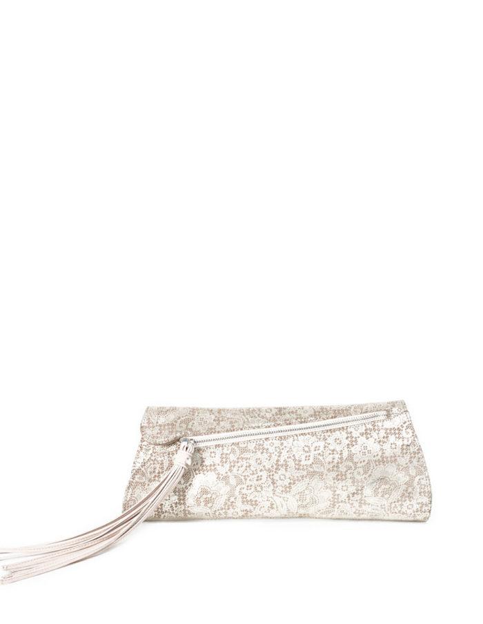 LUMI Viola Clutch, in lace beige.