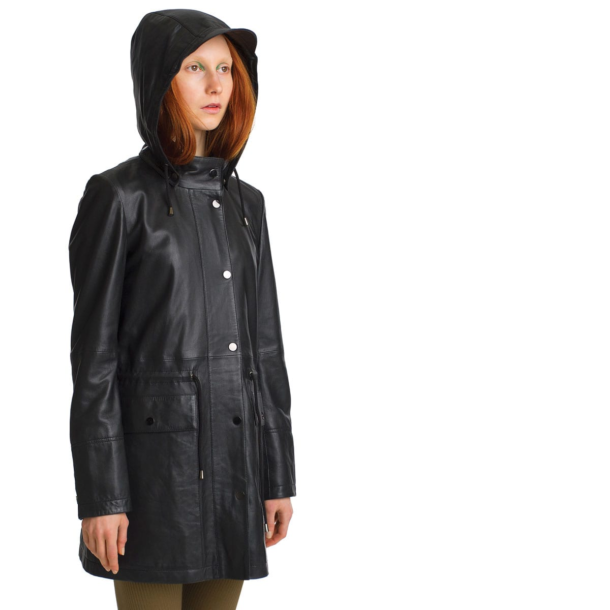 Women's LUMI Leather Anorak, in black, is made of buttery soft full grain, trough dyed sheep leather.
