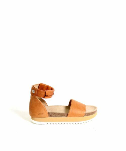 LUMI Birgitta Cork Sandals, in cognac, make the perfect summer shoe for every occasion.
