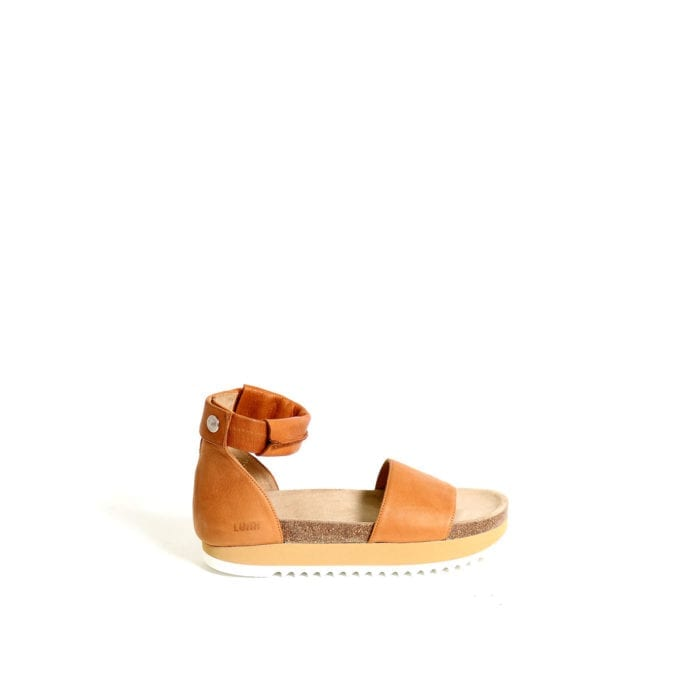 LUMI Birgitta Cork Sandals, in cognac, make the perfect summer shoe for every occasion.