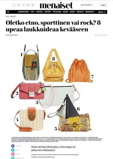 LUMI Vivid Line Maiju pouchette featured on Me Naiset, in April 2017