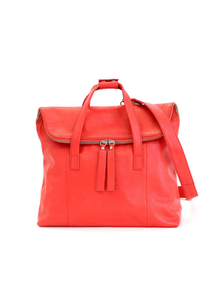 LUMI Saara Backpack, in coral is made of vegetable tanned goat leather. Chemical free dyeing.