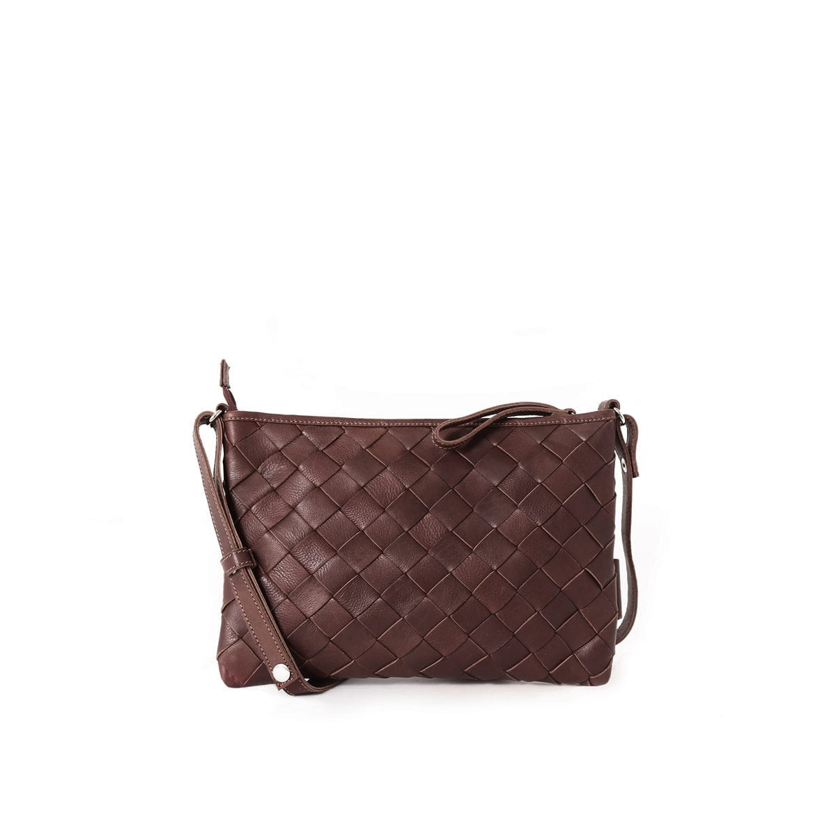 LUMI TRINE Woven Large Clutch in brown