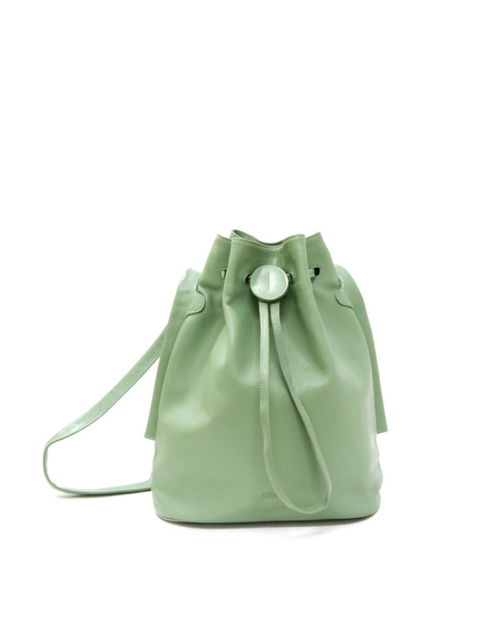 LUMI Verna Large Bucket Bag, in mint, is made of vegetable tanned goat leather. Chemical free dyeing.