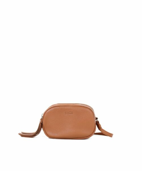 LUMI Jasmin Oval Bag in cognac.