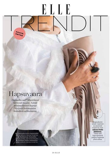 LUMI Aalto evening bag featured in Elle Finland Magazine in beautiful company of Halo from North.