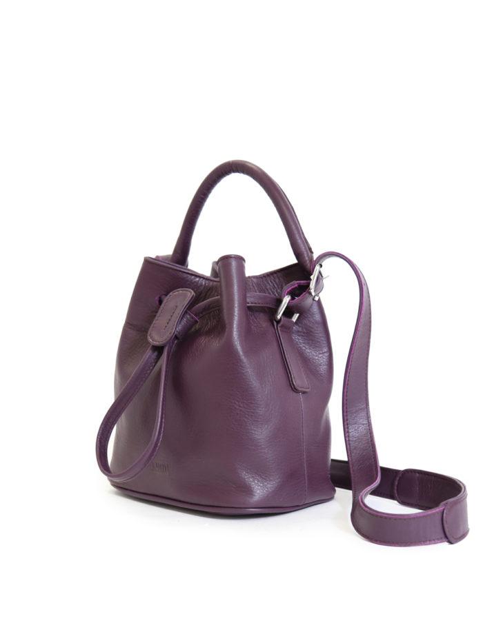 LUMI Klara Small Bucket Bag, in beautiful rich grape colour.